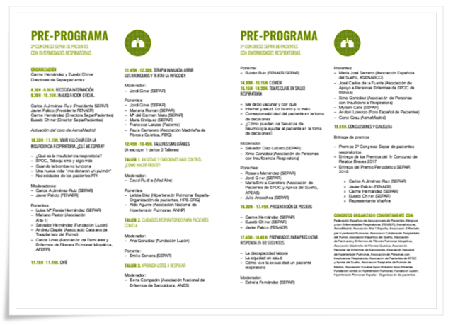 Programa 2do. Congreso Separ Pacientes en Madrid
