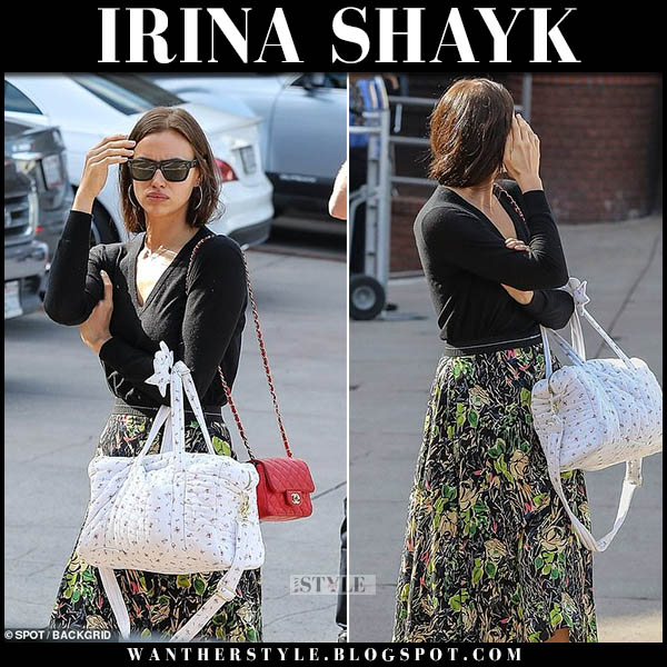 Irina Shayk in black sweater and green floral print prada skirt model street fashion november 21
