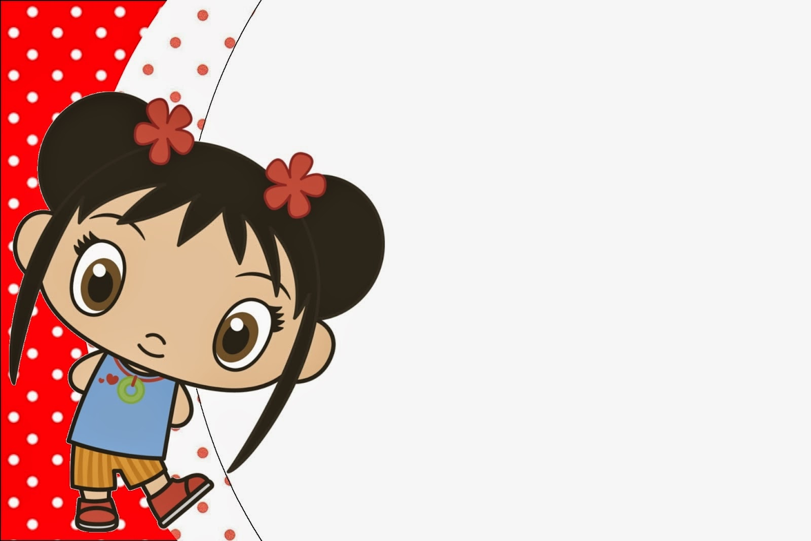 Para hacer invitaciones, tarjetas, marcos de fotos o etiquetas, para imprimir gratis de Ni Hao Kai Lan.