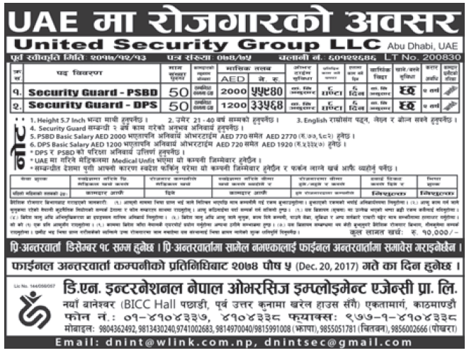 Jobs in UAE for Nepali, Salary Rs 55,940