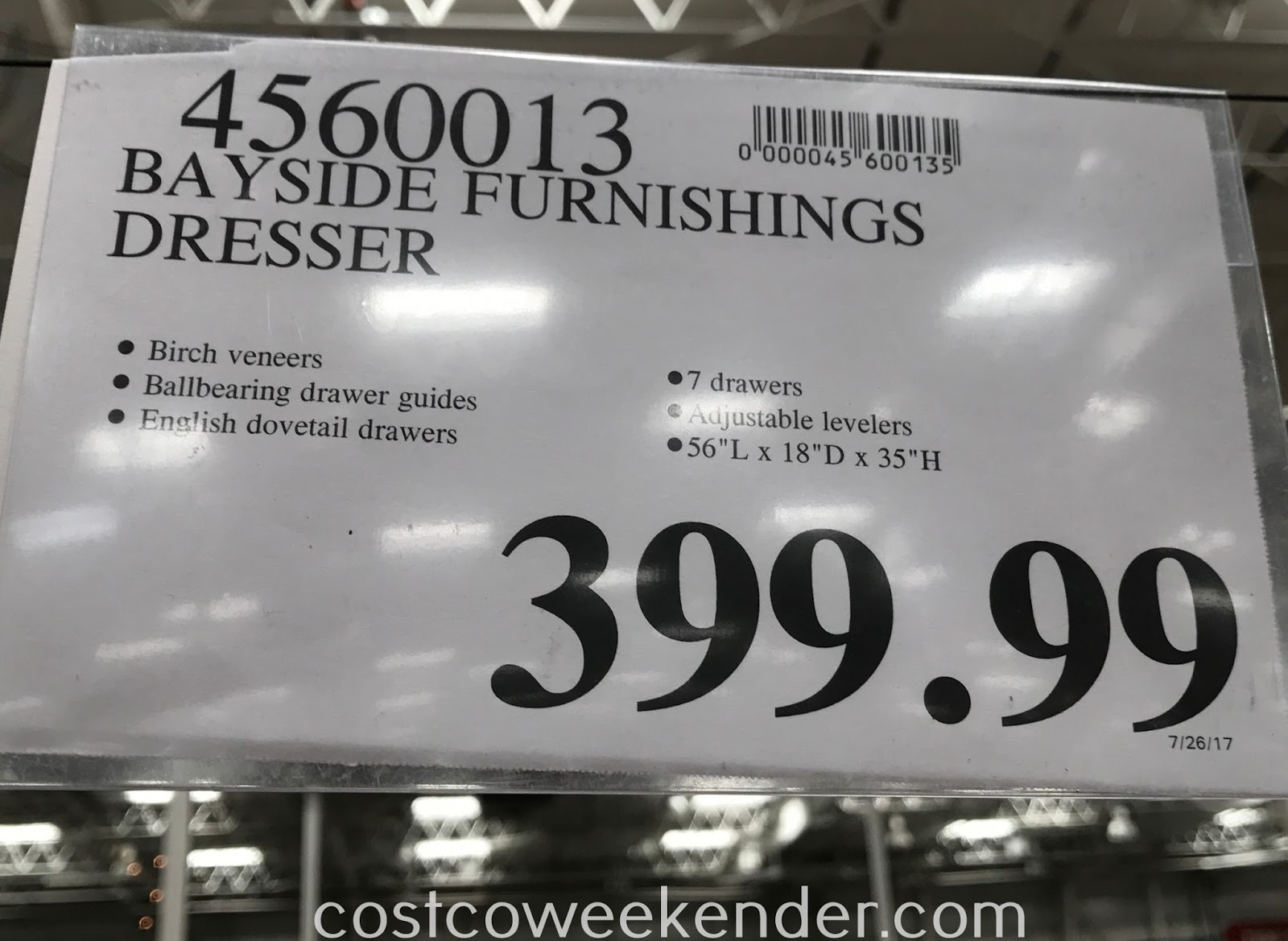 Deal for the Bayside Furnishings 7-Drawer Dresser at Costco