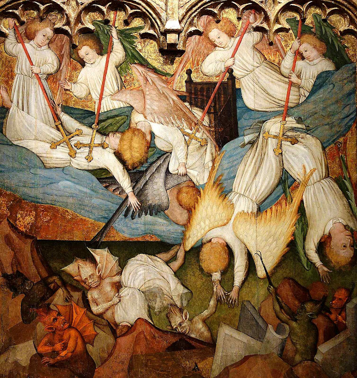 Queda dos anjos rebeldes. Nicolás Francés (1390 - 1468). Cincinnati Art Museum.
