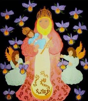 Dibujo de la Virgen de la Candelaria a colores para niños