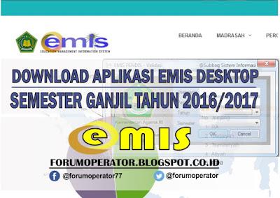 Download Aplikasi Desktop Emis Semester Ganjil Tahun 2016-2017
