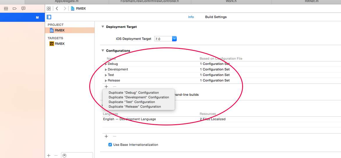 Configure XCode to build for different environments
