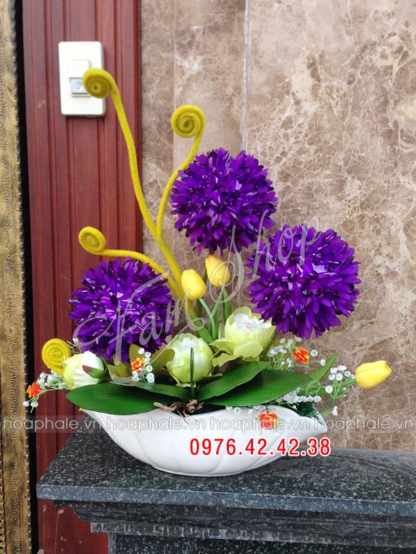 Hoa pha lê cẩm tú cầu tím 3 bông