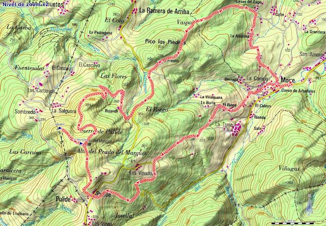 Mapa de la ruta de Moire al Prado Marqués
