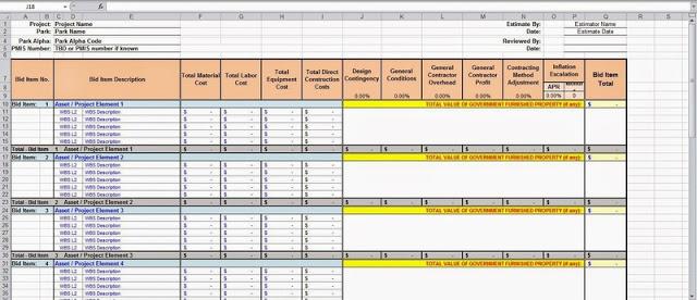 شيتات اكسل لمعرفة حساب التكلفة التقديرية للمشاريع Estimated Costs Excel Sheet المهندسون المدنيون العرب