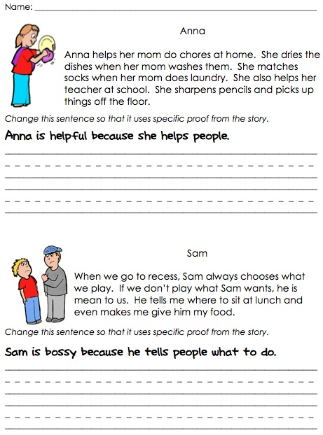Character traits worksheet 1st grade