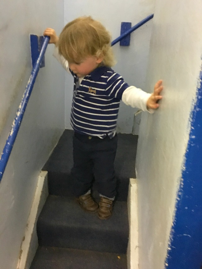 toddler-coming-down-stairs-at--Perrygrove-Railway-Indoor-Village
