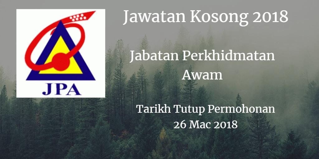 Jawatan Kosong JPA 26 Mac 2018