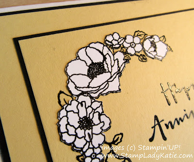 Anniversary card with fussy cut white flowers on a colored base made with Stampin'UP!'s timeless Love Stamp Set
