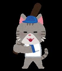 野球をやる動物のキャラクター(猫)