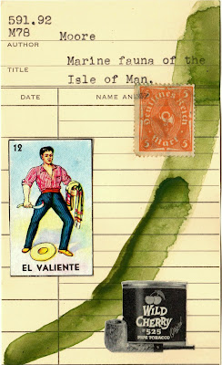 El Valiente mexican lottery card postage stamp wild cherry pipe tobacco library card Dada Fluxus mail art collage