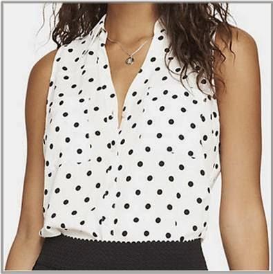 Ladies Polka Dot Sleeveless Shirt