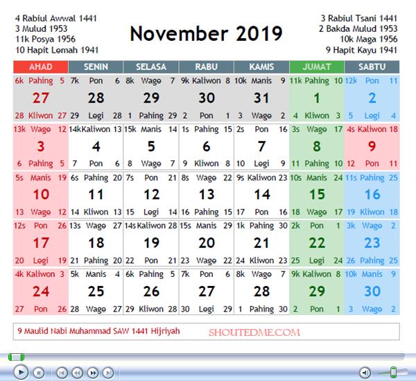 kalender jawa november 2019