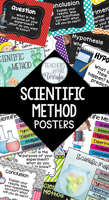 STEM and Science posters are essential to your classroom space. Here's a great way to make decorating easy! Tips in this post and samples of great posters will get you started. These sets are all about the Scientific Method. #STEM #ScientificMethod #posters