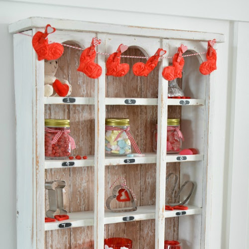 Upcycled Vintage Cubby Decorated For Valentine's Day