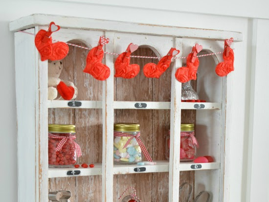 Vintage Cubby Cabinet Refreshed for Valentine's Day