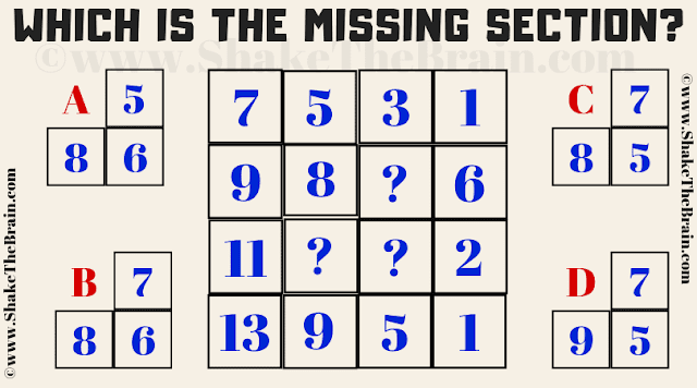 In this Missing Section Brain Teaser, your challenge is to find the value of the missing section which will replace the question marks.
