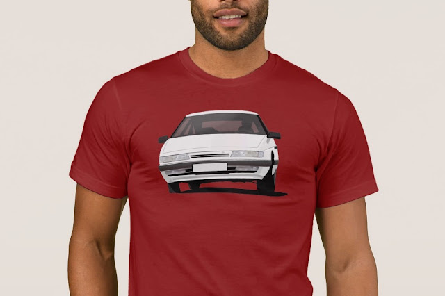 Citroen XM in white - illustration on a T-shirt