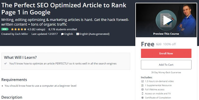 [100% Off] The Perfect SEO Optimized Article to Rank Page 1 in Google| Worth 20$