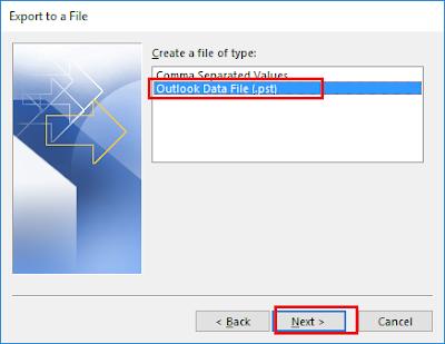Backup dữ liệu Outlook 2016 - H03