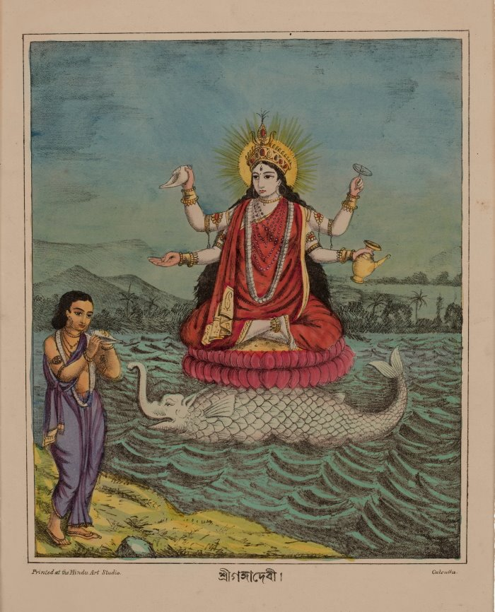 Goddess Ganga (River Ganges) - Hindu Art Studio, Calcutta c1880's