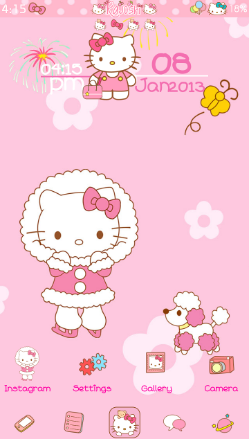 Pretty Droid Themes: Hello Kitty Winter Go Launcher Theme