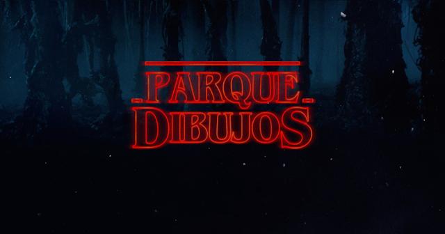 Logo Parque Dibujos al estilo de Stranger Things