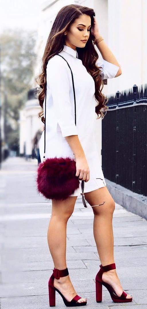 white and maroon fashion trends: dress + bag + heels
