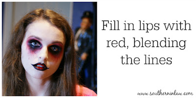 Fill in Lips with Red, Blending the Lines - Zombie Makeup Tutorial Halloween Face Painting