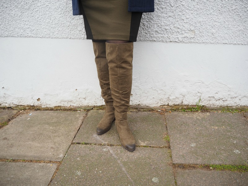 JustFab Khaki Over the Knee Boots