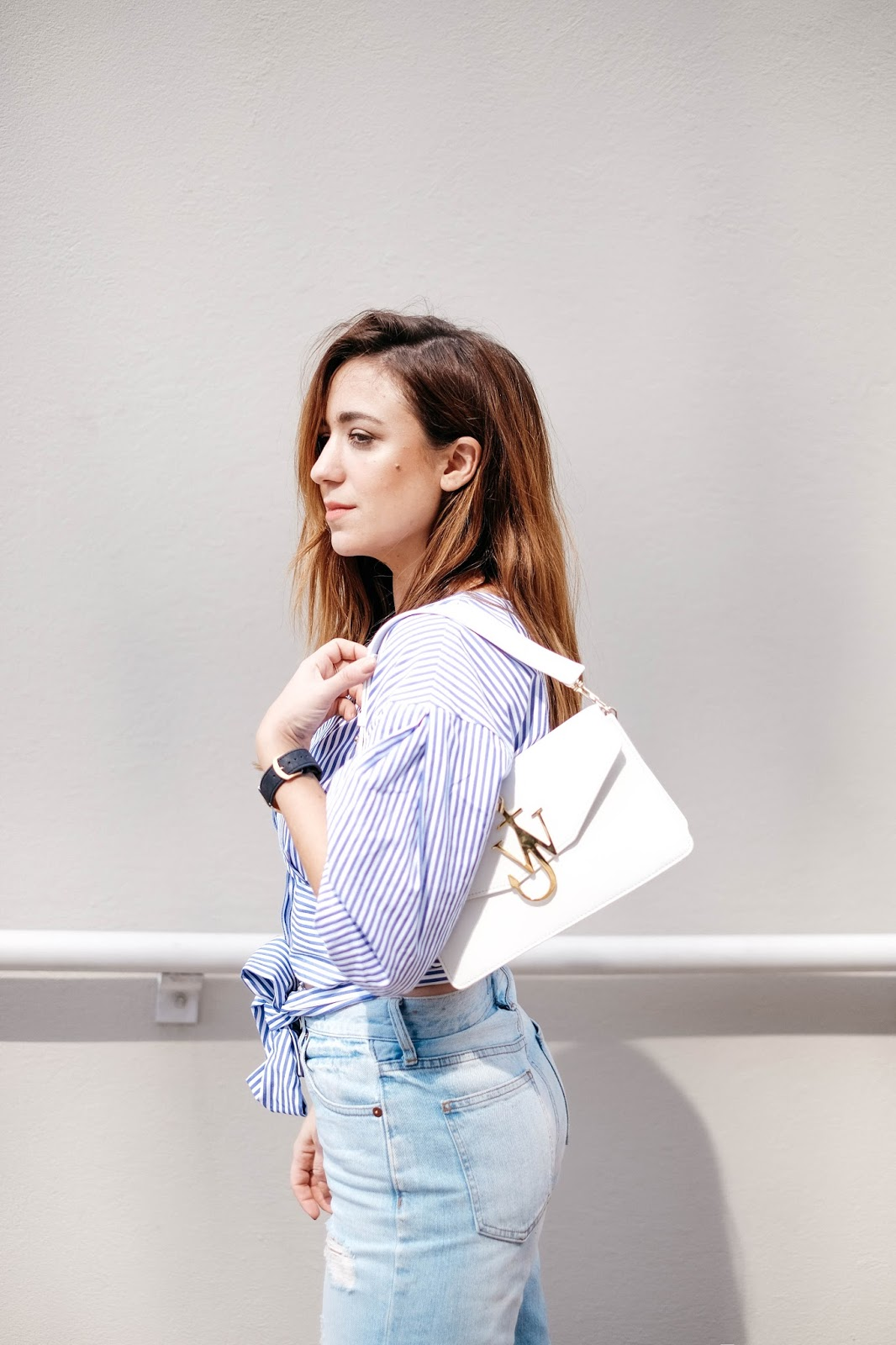 distressed jeans, madewell jeans, poplin blouse, striped shirt, summer, outfit, inspiration, blog, blogger, style, fashion, outfit ideas, JOA, loeffler randall, ruffle sandals, vera sandals