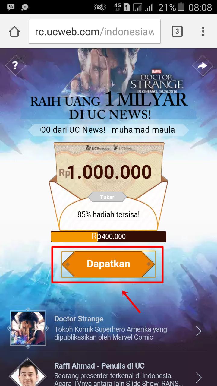 Berhadiah: Dapatkan Uang 1.000.000 di UC NEWS | Forum Bitcoin Indonesia