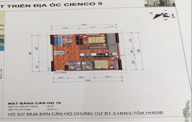 Sơ đồ thiết kế căn hộ 16 chung cư B1.3 HH03B Thanh Hà Cienco 5