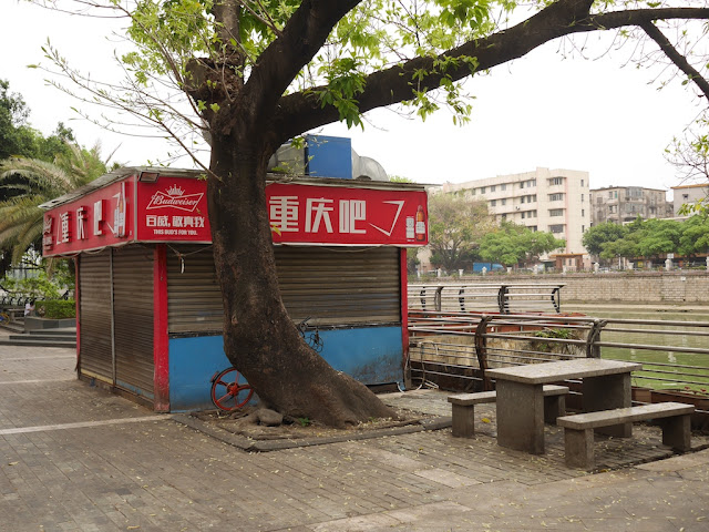 outdoor riverside outdoor eatery in Jiangmen closed during the day