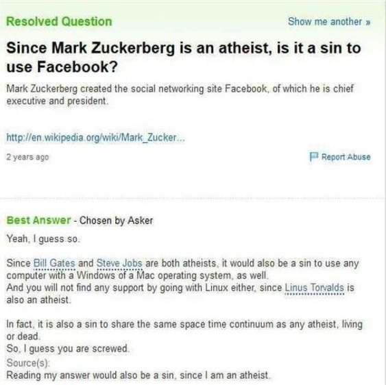 Since Mark Zuckerberg is an atheist, is it a sin to use Facebook?