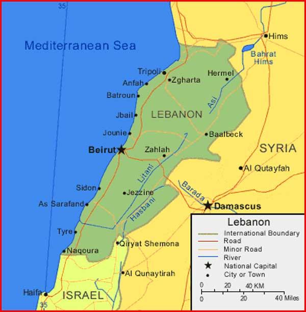 Gambar Peta Lebanon