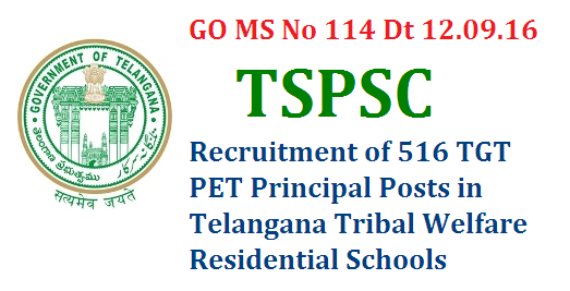 GO MS No 114 TSPSC Recruitment of 516 Posts in TS Tribal Welfare Residential Schools Govt of Telangana has given permission to Telangana Public Service Commission top Recruit 516 TGTs PETs Principals etc go-ms-no-114-tspsc-recruitment-of-516-tgt-pet-posts-tribal-residential-schools-telanganaPublic Services – Tribal Welfare Department - Recruitment – Filling of (516) Five Hundred and Sixteen vacant posts in Telangana Tribal Welfare Residential Educational Institutions Society (Gurukulam), through the Telangana State Public Service  Commission,  Hyderabad – Orders –Issued.