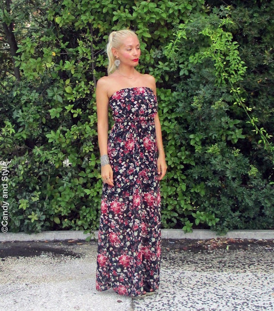 MaxiDress+Wedges+HightPonytail+RedLips - Lilli Candy and Style Fashion Blog