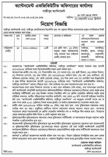 Gazipur Cantonment College Officer Job Circular