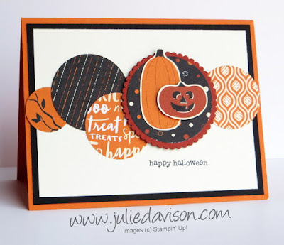 Stampin' Up! Spooky Night Designer Paper + Teeny Tiny Wishes Halloween Circles Card ~ 2017 Holiday Catalog ~ www.juliedavison.com