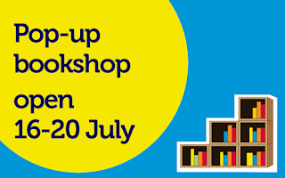 Graphic with text: Pop-up bookshop open 16-20 July