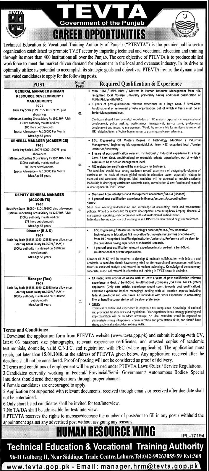 Jobs In TEVTA Technical Education And Vocational Training Authority Lahore Dec 2017