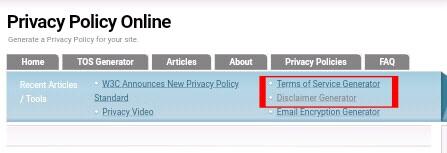 Cara Cepat Membuat Pripacy policy, Disclaimer, dan TOS Untuk Blog Lewat Situs Online