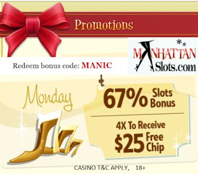 Manhattan Slots Monday Match and Free Chip