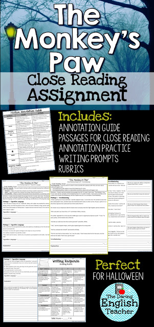 Teach close reading with The Monkey's Paw.