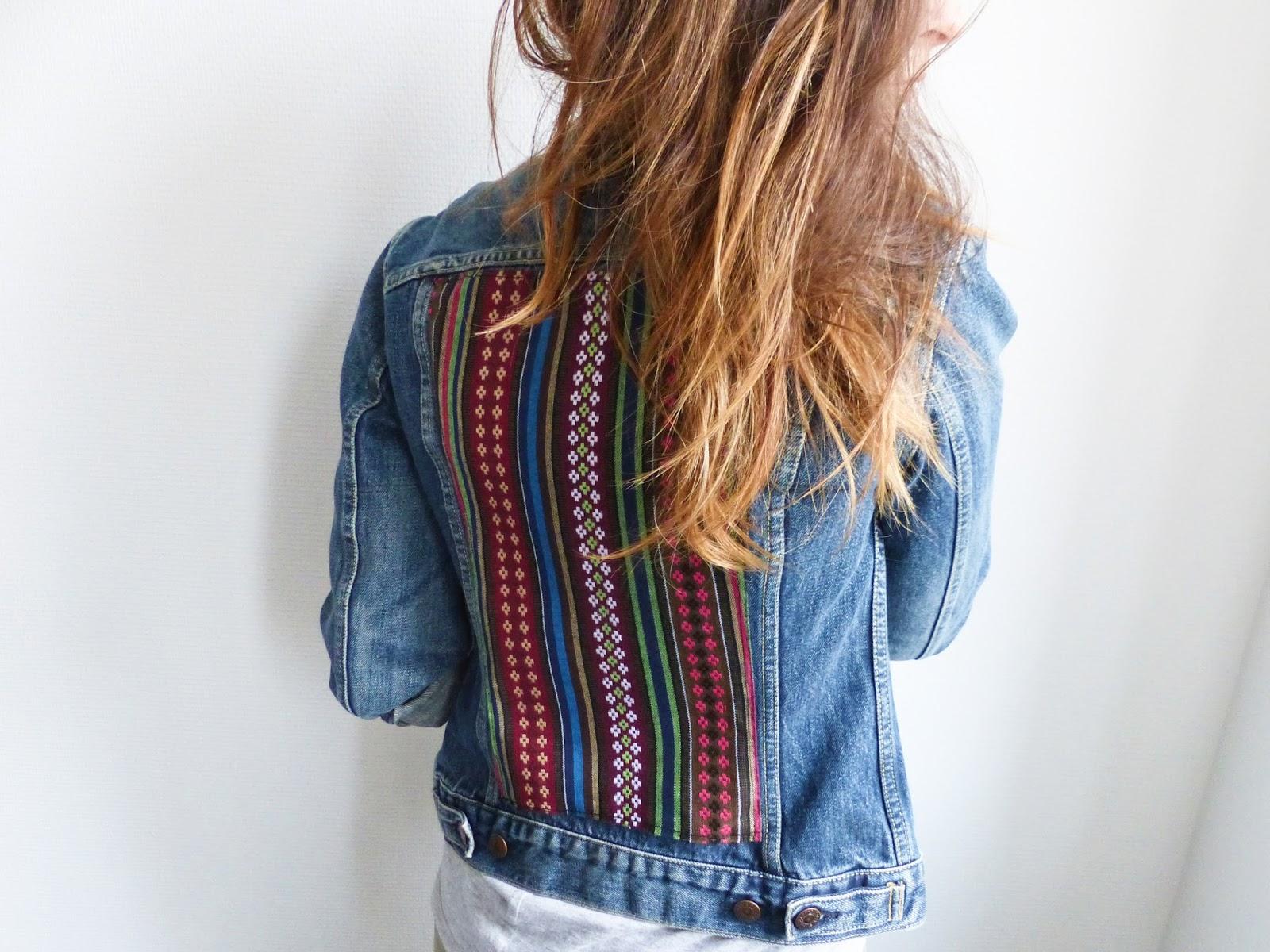 diy veste en jean customis e avec tissu azt que blog diy do it yourself jules coton. Black Bedroom Furniture Sets. Home Design Ideas