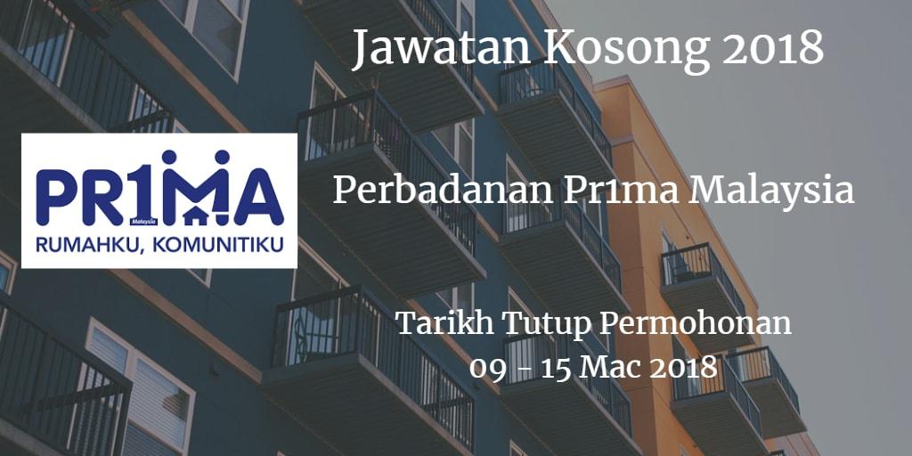 Jawatan Kosong Perbadanan Pr1ma Malaysia 09 - 15 Mac 2018